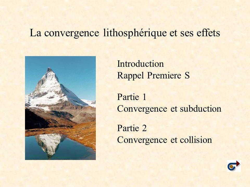 La convergence lithosphérique et ses effets Partie 1 Convergence et subduction Partie 2 Convergence et collision Introduction Rappel Premiere S