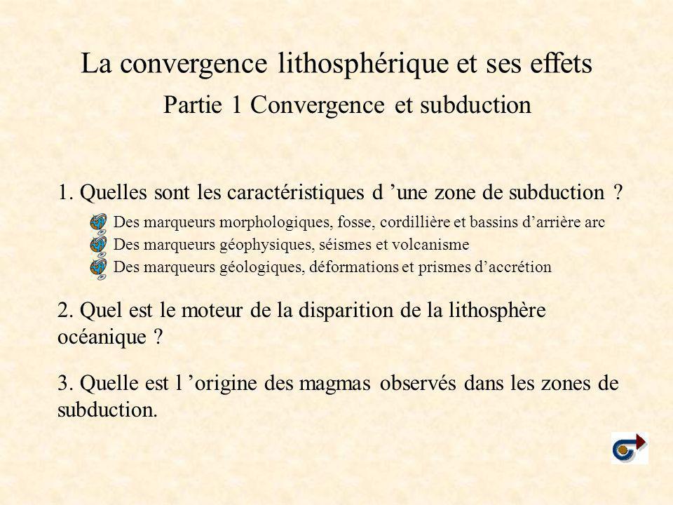 La convergence lithosphérique et ses effets Partie 1 Convergence et subduction 1. Quelles sont les caractéristiques d 'une zone de subduction ? 2. Que