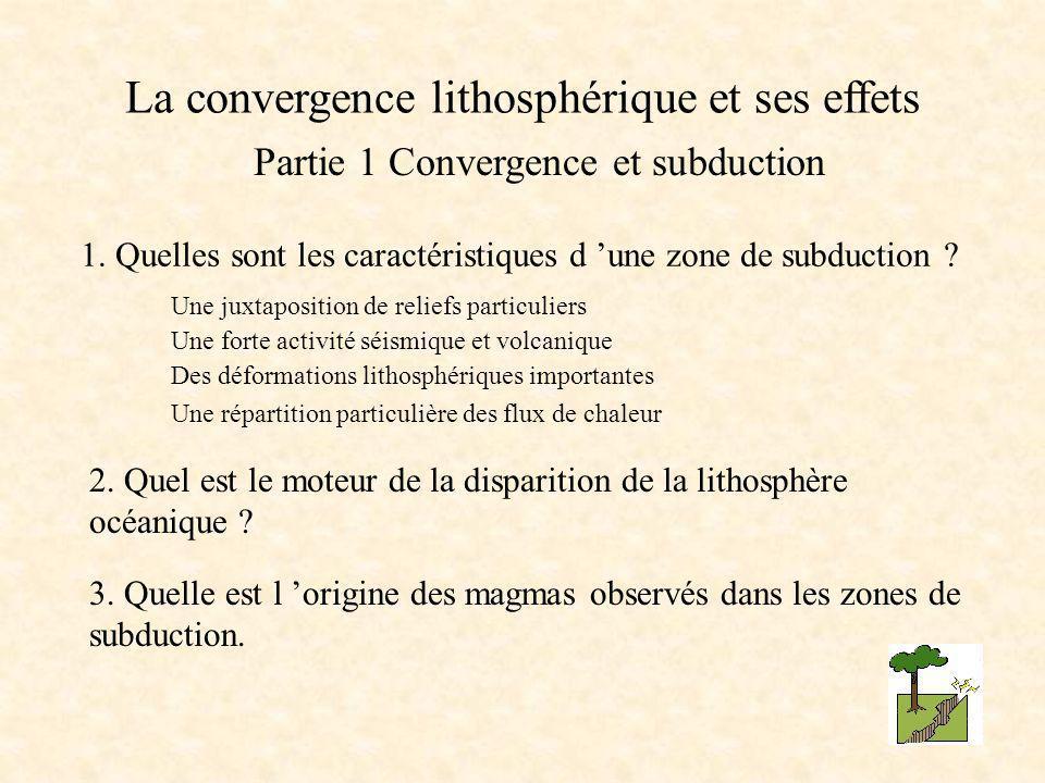 Partie 1 Convergence et subduction 1. Quelles sont les caractéristiques d 'une zone de subduction ? 2. Quel est le moteur de la disparition de la lith