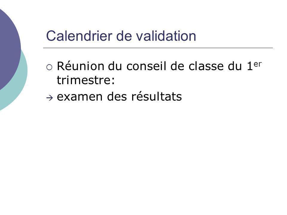 Calendrier de validation  Réunion du conseil de classe du 1 er trimestre:  examen des résultats