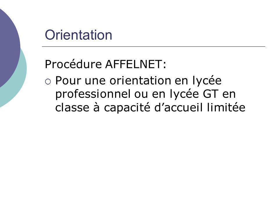 Orientation Procédure AFFELNET:  Pour une orientation en lycée professionnel ou en lycée GT en classe à capacité d'accueil limitée