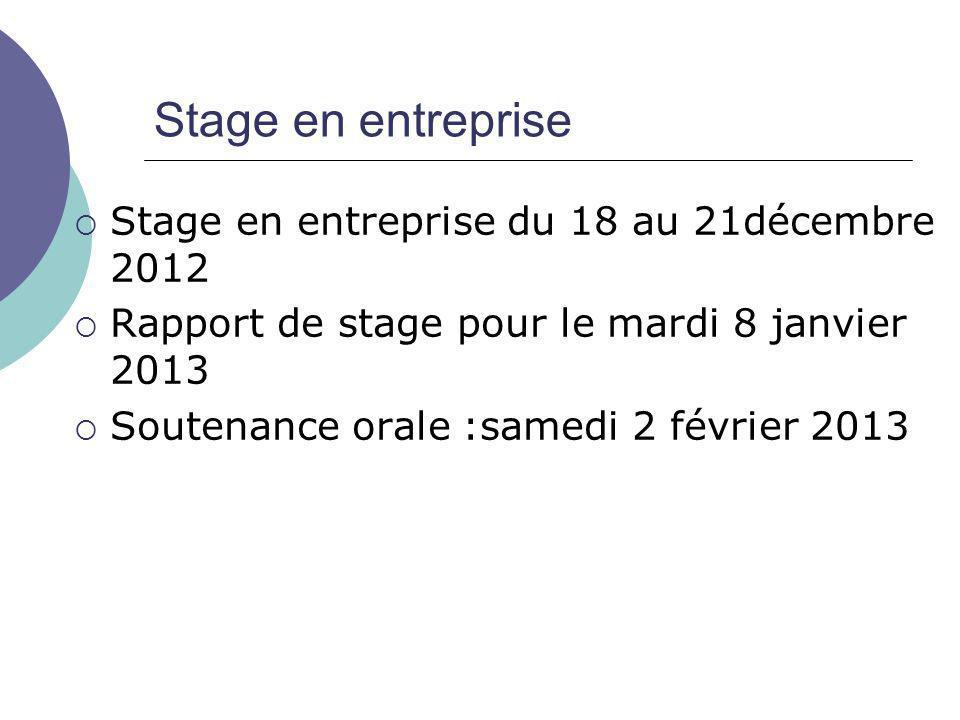 Stage en entreprise  Stage en entreprise du 18 au 21décembre 2012  Rapport de stage pour le mardi 8 janvier 2013  Soutenance orale :samedi 2 février 2013