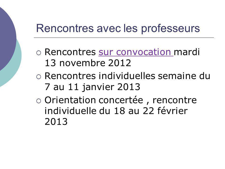 Rencontres avec les professeurs  Rencontres sur convocation mardi 13 novembre 2012  Rencontres individuelles semaine du 7 au 11 janvier 2013  Orien