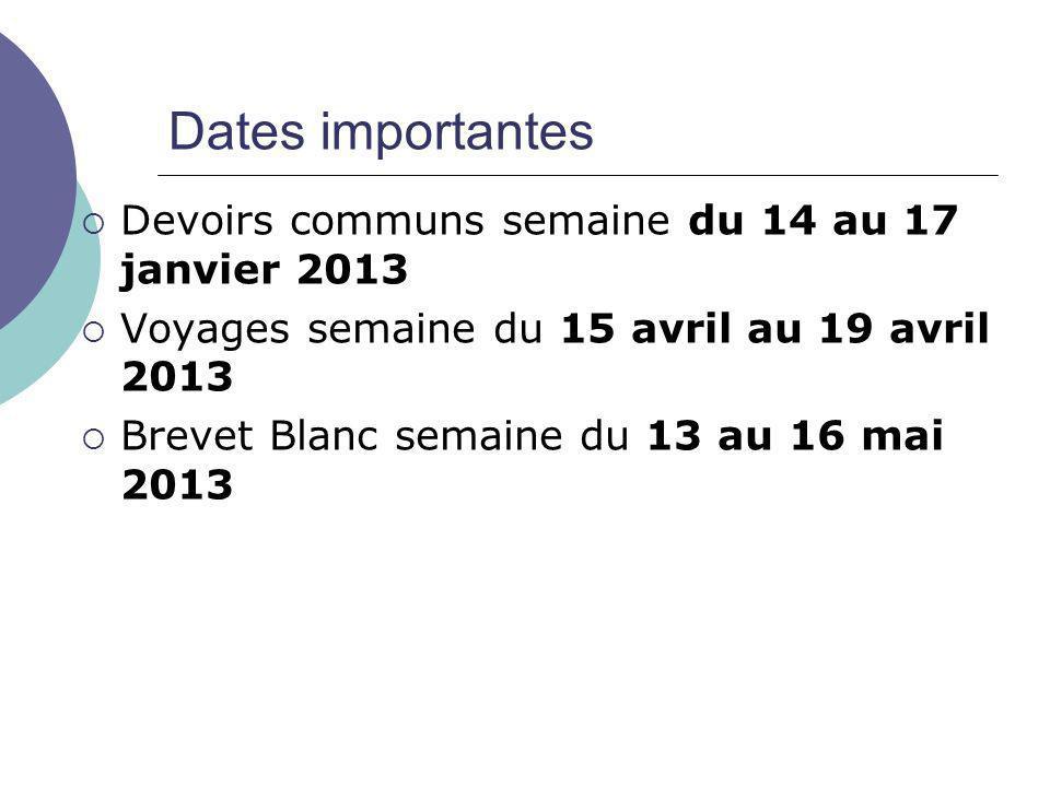 Dates importantes  Devoirs communs semaine du 14 au 17 janvier 2013  Voyages semaine du 15 avril au 19 avril 2013  Brevet Blanc semaine du 13 au 16 mai 2013