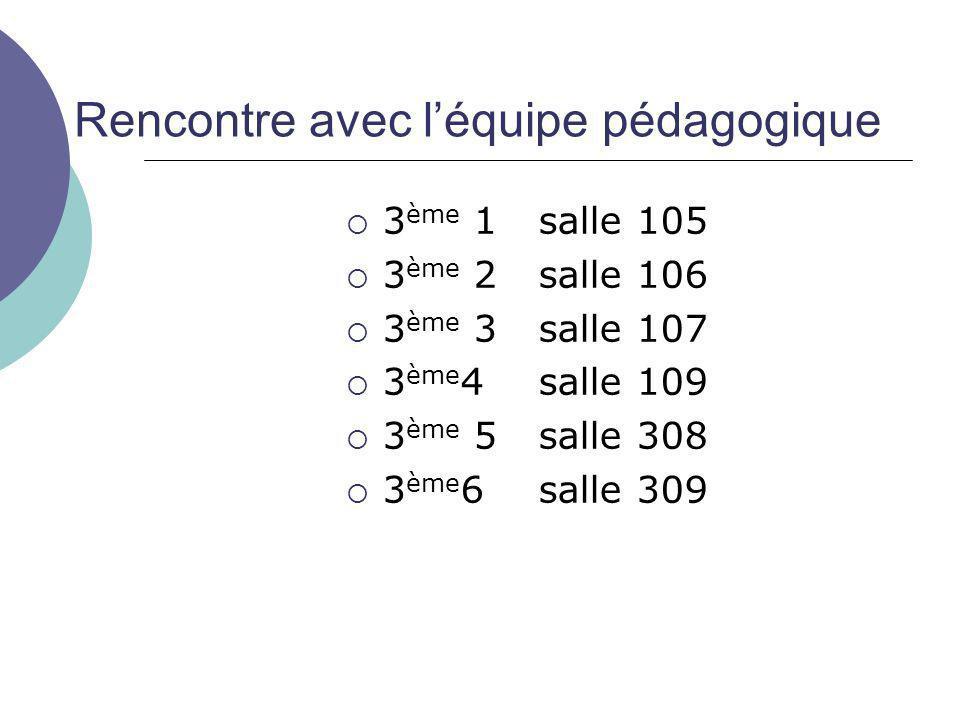 Rencontre avec l'équipe pédagogique  3 ème 1salle 105  3 ème 2salle 106  3 ème 3salle 107  3 ème 4 salle 109  3 ème 5salle 308  3 ème 6salle 309