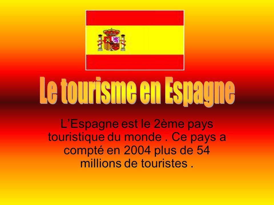 L'Espagne est le 2ème pays touristique du monde. Ce pays a compté en 2004 plus de 54 millions de touristes.