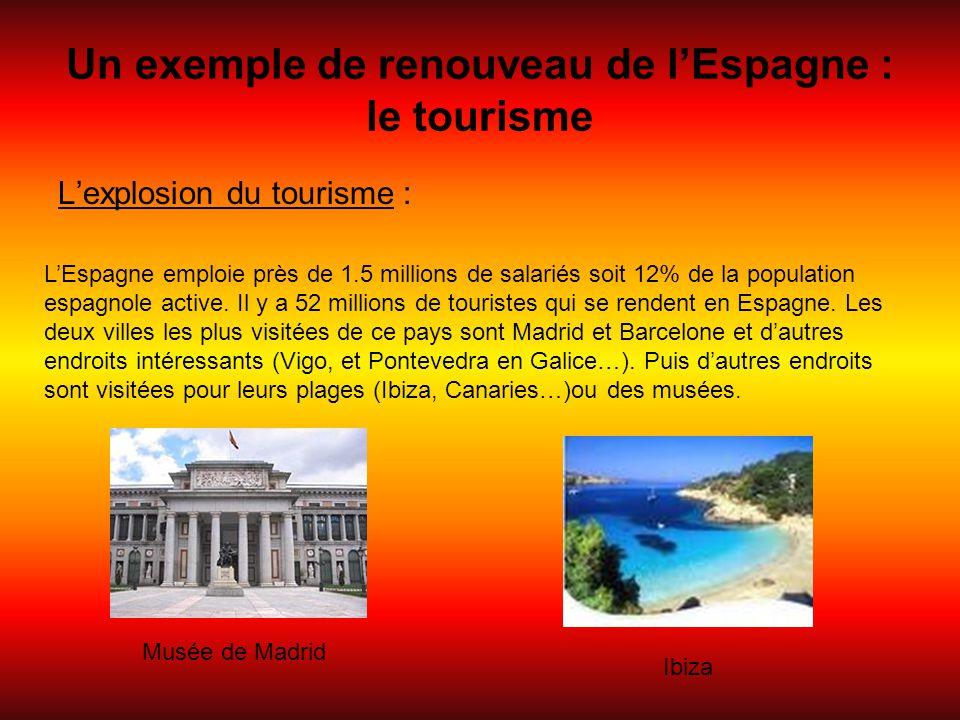 Un exemple de renouveau de l'Espagne : le tourisme L'explosion du tourisme : L'Espagne emploie près de 1.5 millions de salariés soit 12% de la populat