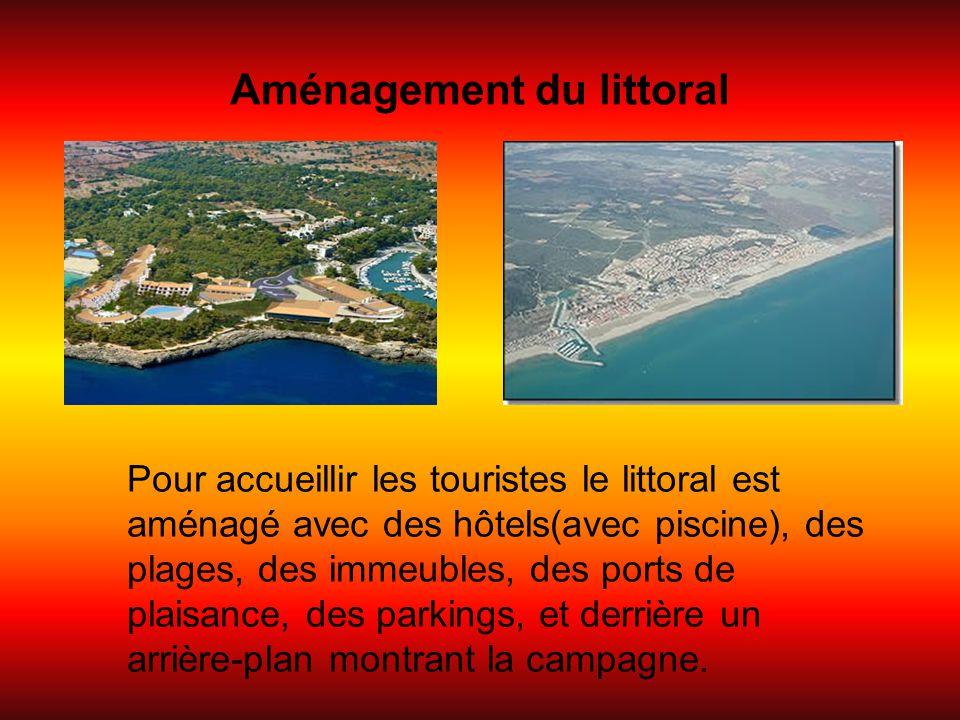 Aménagement du littoral Pour accueillir les touristes le littoral est aménagé avec des hôtels(avec piscine), des plages, des immeubles, des ports de p