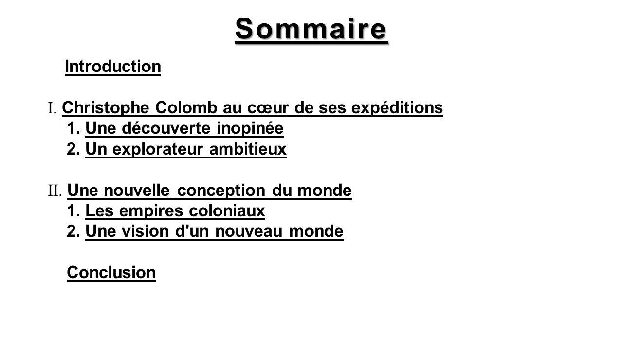Sommaire Introduction I. Christophe Colomb au cœur de ses expéditions 1. Une découverte inopinée 2. Un explorateur ambitieux II. Une nouvelle concepti