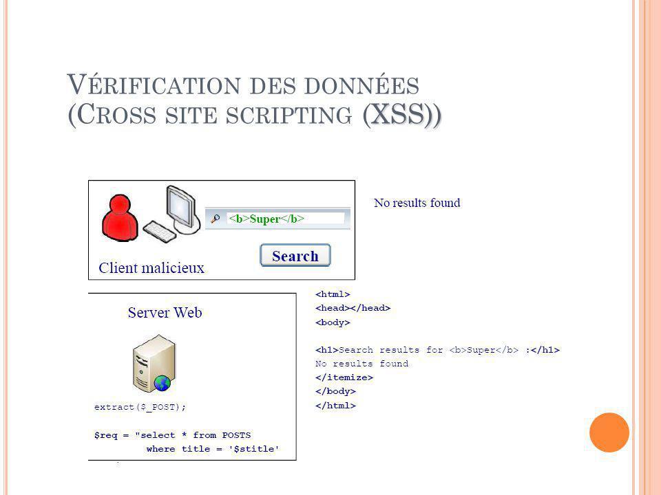 XSS)) V ÉRIFICATION DES DONNÉES (C ROSS SITE SCRIPTING (XSS))