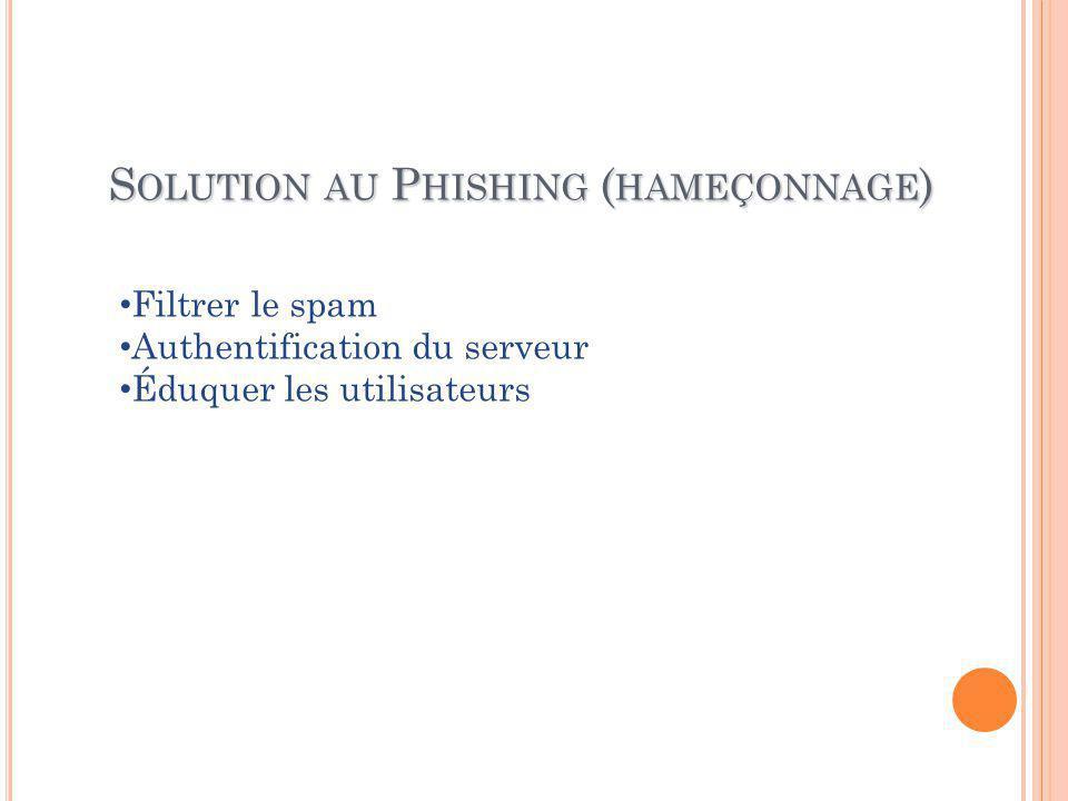 S OLUTION AU P HISHING ( HAMEÇONNAGE ) Filtrer le spam Authentification du serveur Éduquer les utilisateurs