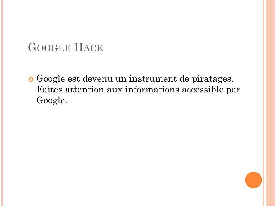G OOGLE H ACK Google est devenu un instrument de piratages.