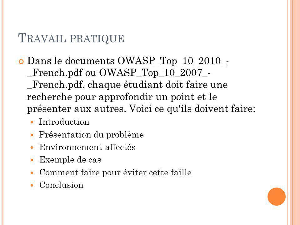 T RAVAIL PRATIQUE Dans le documents OWASP_Top_10_2010_- _French.pdf ou OWASP_Top_10_2007_- _French.pdf, chaque étudiant doit faire une recherche pour