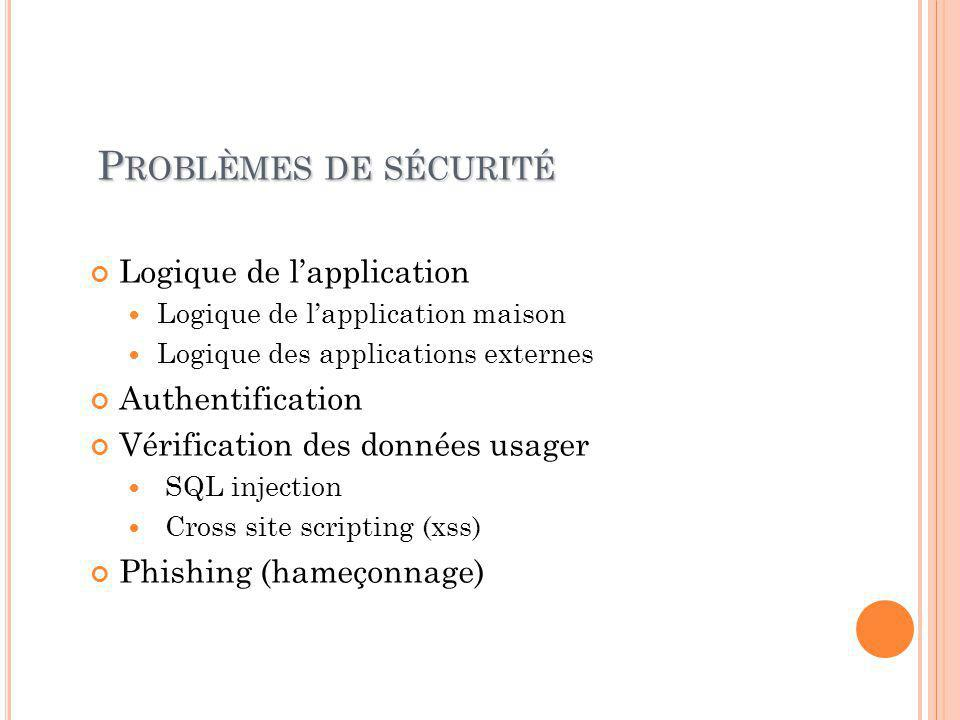 P ROBLÈMES DE SÉCURITÉ Logique de l'application Logique de l'application maison Logique des applications externes Authentification Vérification des données usager SQL injection Cross site scripting (xss) Phishing (hameçonnage)
