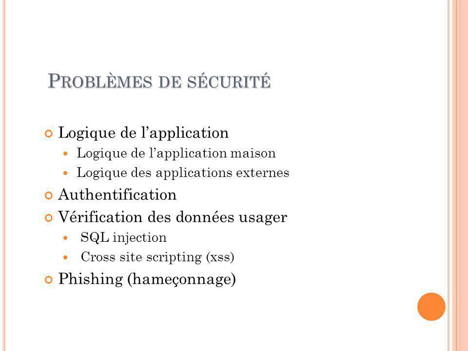 S OLUTIONS À LA LOGIQUE DE L ' APPLICATION Chaque attaque est différente Exploite la logique de l'application Difficile à détecter Exemples: Acheter un livre de -20$ Créer un million d'usagers et écrire des messages Enlever le câble réseau au milieu d'une partie d'échec Exploite une faille http://fr.wikipedia.org/wiki/Vulnérabilité_(informatique ) http://fr.wikipedia.org/wiki/Vulnérabilité_(informatique ) http://cve.mitre.org/data/downloads/