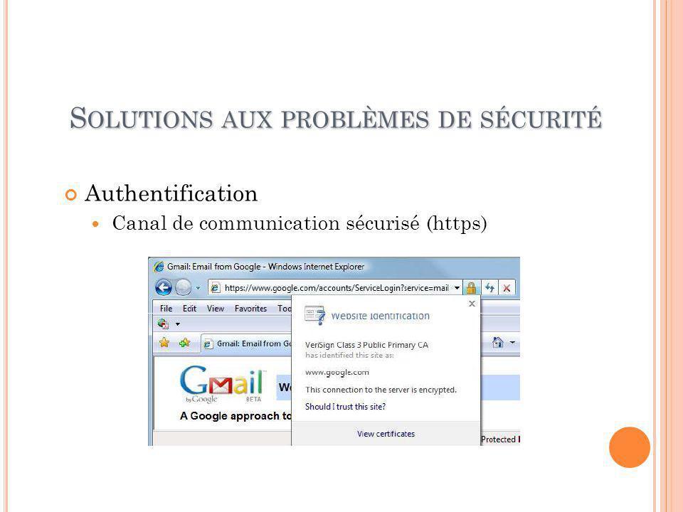 S OLUTIONS AUX PROBLÈMES DE SÉCURITÉ Authentification Canal de communication sécurisé (https)
