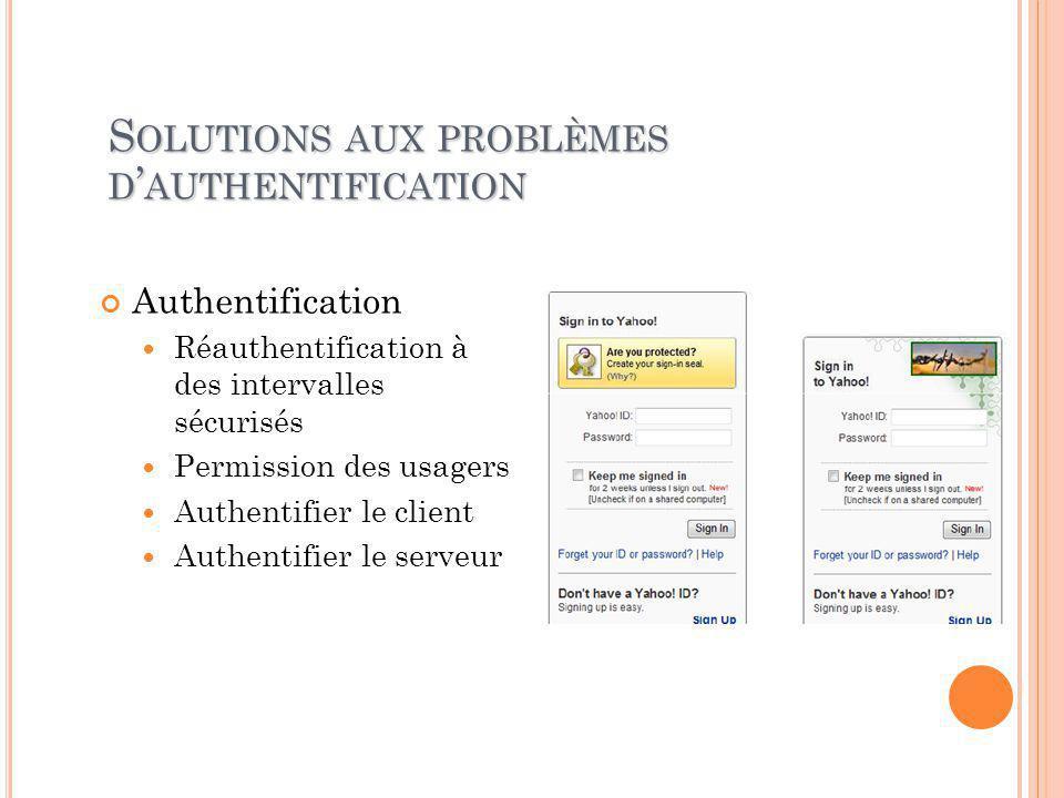 S OLUTIONS AUX PROBLÈMES D ' AUTHENTIFICATION Authentification Réauthentification à des intervalles sécurisés Permission des usagers Authentifier le client Authentifier le serveur