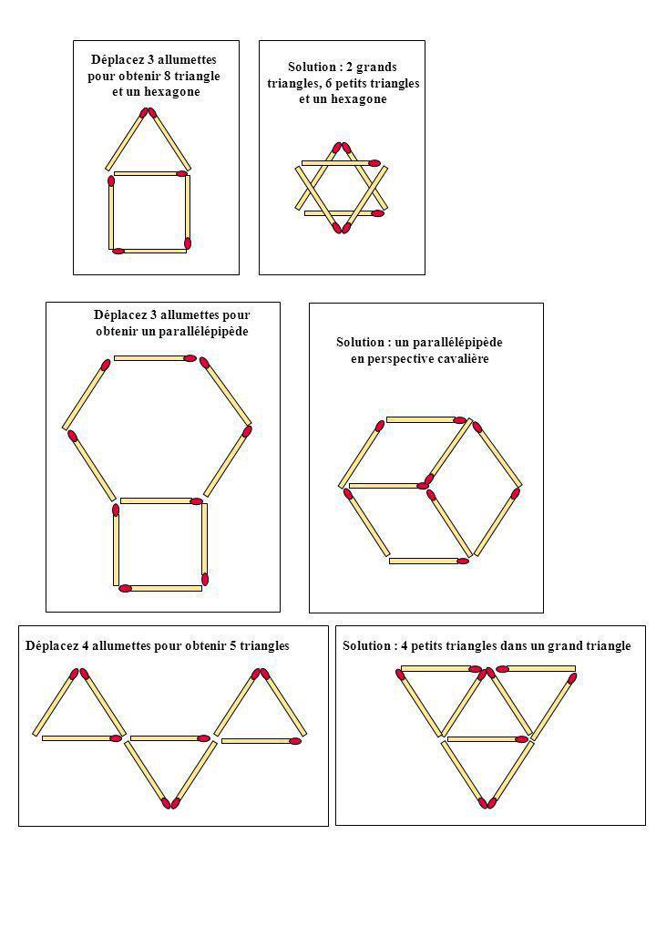 Déplacez 3 allumettes pour obtenir 8 triangle et un hexagone Solution : 2 grands triangles, 6 petits triangles et un hexagone Déplacez 3 allumettes pour obtenir un parallélépipède Solution : un parallélépipède en perspective cavalière Déplacez 4 allumettes pour obtenir 5 triangles Solution : 4 petits triangles dans un grand triangle