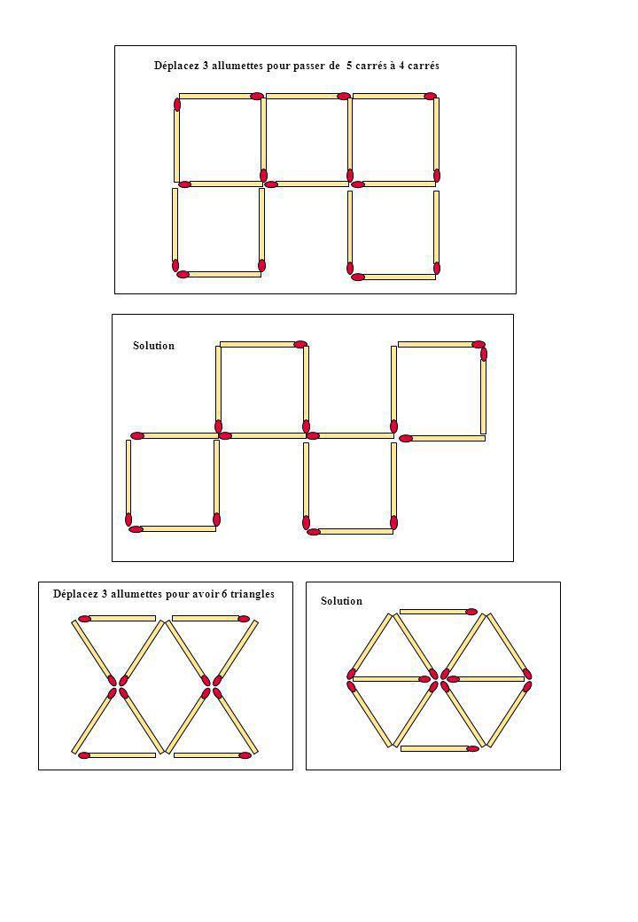 Enlevez une allumette Pour obtenir un carré Vous participez à une course cycliste.