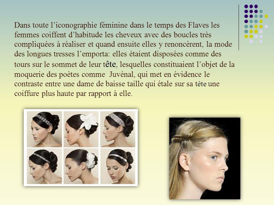 Dans toute l'iconographie féminine dans le temps des Flaves les femmes coiffent d'habitude les cheveux avec des boucles très compliquées à réaliser et
