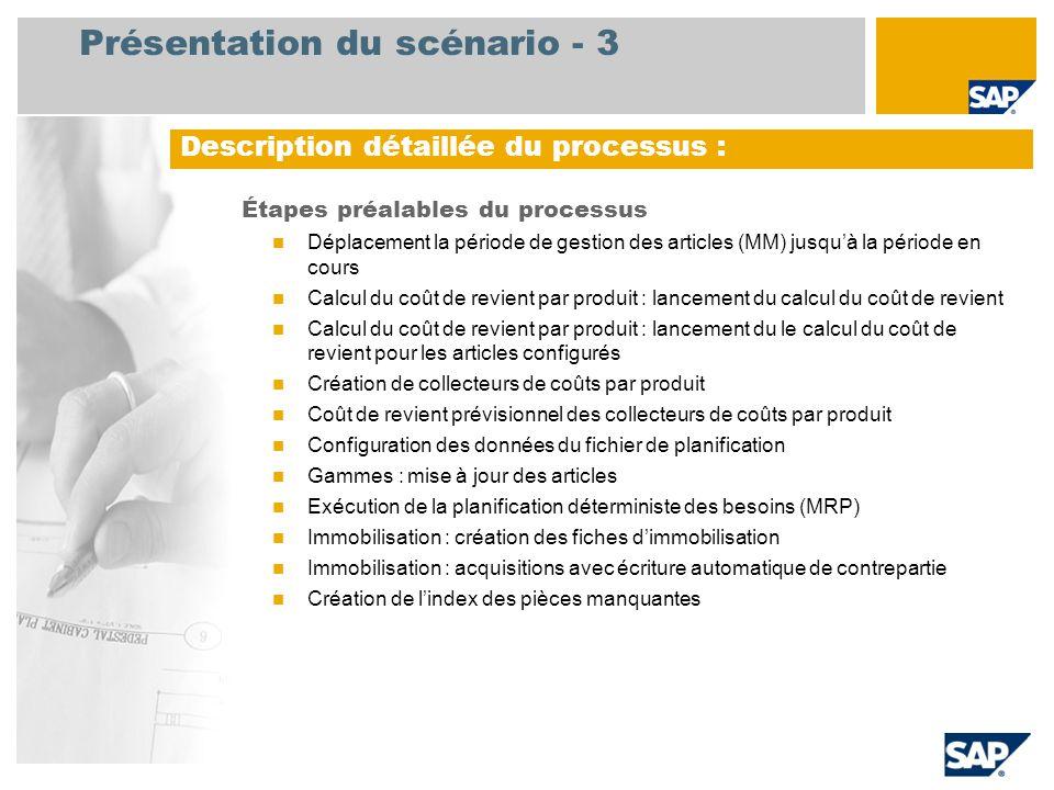 Présentation du scénario - 3 Étapes préalables du processus Déplacement la période de gestion des articles (MM) jusqu'à la période en cours Calcul du