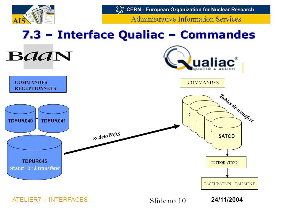Slide no 10 24/11/2004ATELIER7 – INTERFACES 7.3 – Interface Qualiac – Commandes FACTURATION+ PAIEMENT xcdetoWOS COMMANDES RECEPTIONNEES TDPUR040TDPUR0