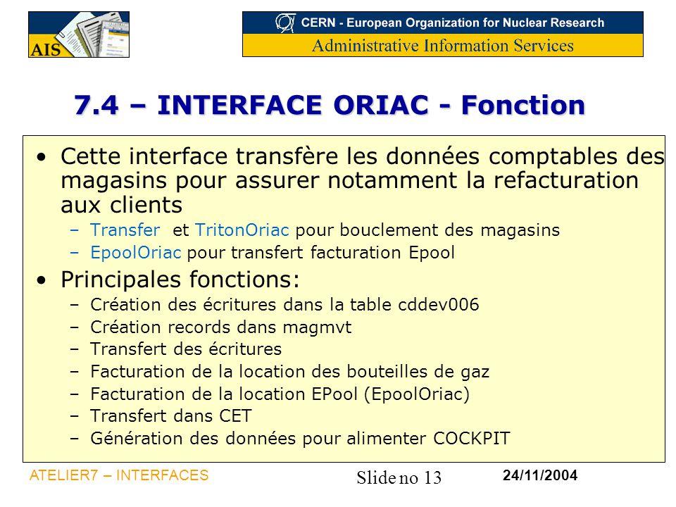 Slide no 13 24/11/2004ATELIER7 – INTERFACES 7.4 – INTERFACE ORIAC - Fonction Cette interface transfère les données comptables des magasins pour assure