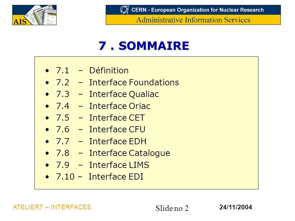 Slide no 2 24/11/2004ATELIER7 – INTERFACES 7. SOMMAIRE 7.1 – Définition 7.2 – Interface Foundations 7.3 – Interface Qualiac 7.4 – Interface Oriac 7.5