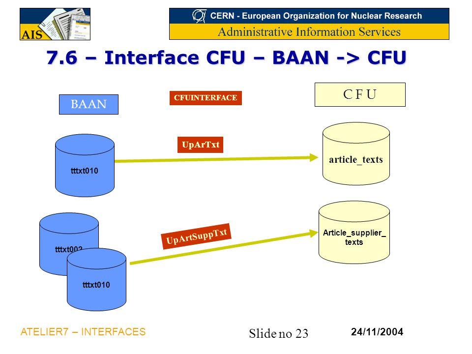 Slide no 23 24/11/2004ATELIER7 – INTERFACES tttxt002 7.6 – Interface CFU – BAAN -> CFU C F U BAAN tttxt010 article_texts Article_supplier_ texts CFUIN