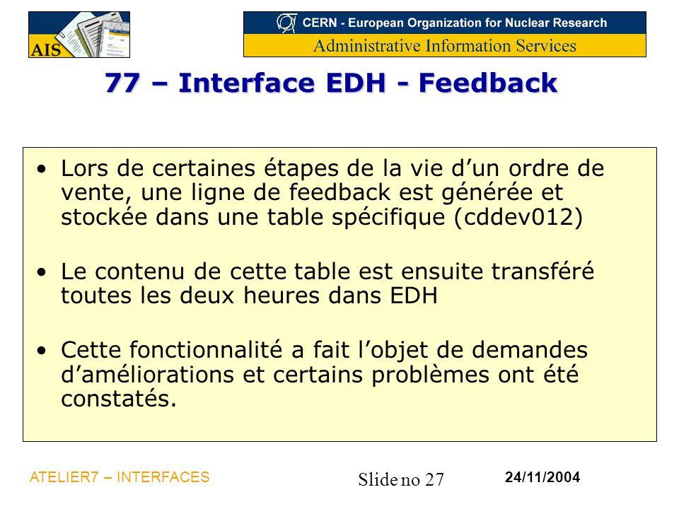 Slide no 27 24/11/2004ATELIER7 – INTERFACES 77 – Interface EDH - Feedback Lors de certaines étapes de la vie d'un ordre de vente, une ligne de feedbac