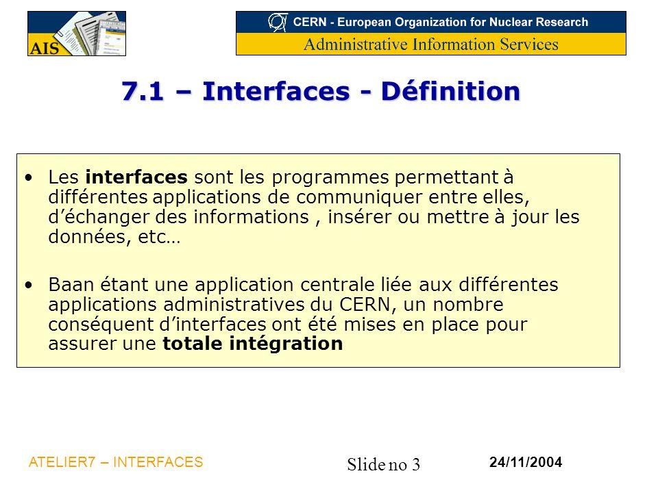 Slide no 3 24/11/2004ATELIER7 – INTERFACES 7.1 – Interfaces - Définition Les interfaces sont les programmes permettant à différentes applications de c