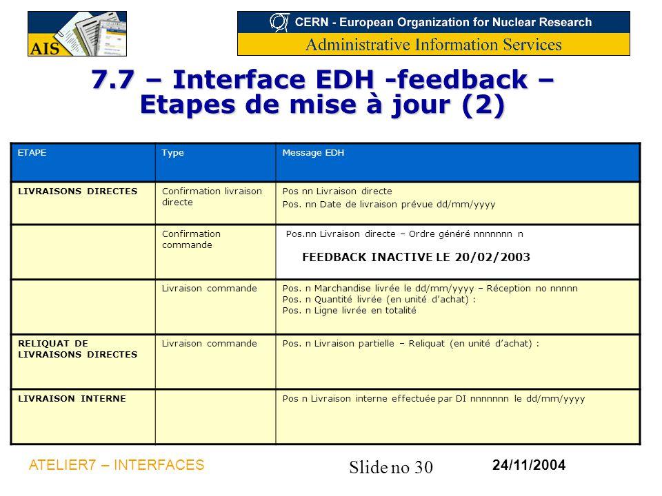 Slide no 30 24/11/2004ATELIER7 – INTERFACES 7.7 – Interface EDH -feedback – Etapes de mise à jour (2) ETAPETypeMessage EDH LIVRAISONS DIRECTESConfirma