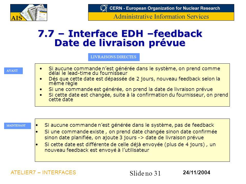 Slide no 31 24/11/2004ATELIER7 – INTERFACES 7.7 – Interface EDH –feedback Date de livraison prévue LIVRAISONS DIRECTES Si aucune commande n'est généré