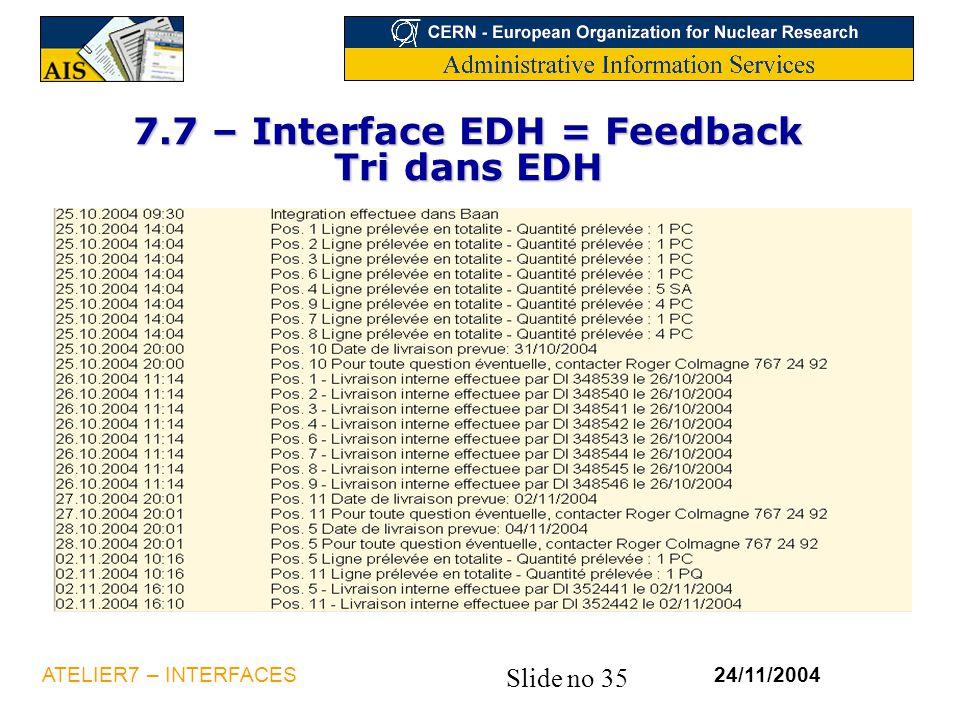 Slide no 35 24/11/2004ATELIER7 – INTERFACES 7.7 – Interface EDH = Feedback Tri dans EDH