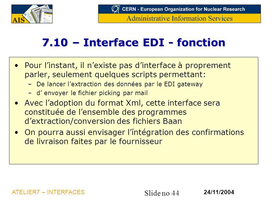Slide no 44 24/11/2004ATELIER7 – INTERFACES 7.10 – Interface EDI - fonction Pour l'instant, il n'existe pas d'interface à proprement parler, seulement