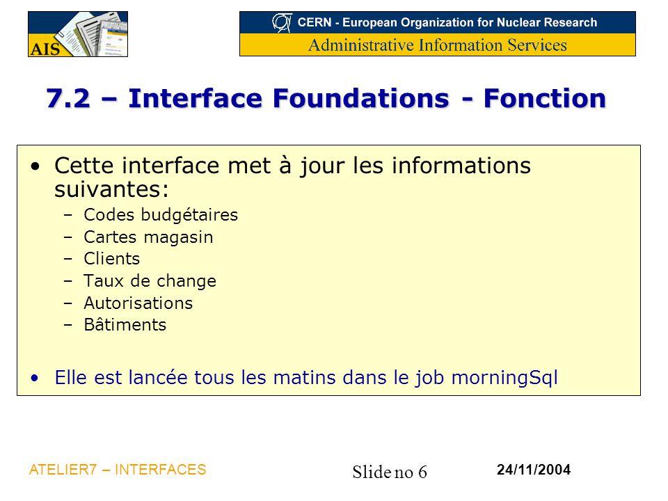 Slide no 6 24/11/2004ATELIER7 – INTERFACES 7.2 – Interface Foundations - Fonction Cette interface met à jour les informations suivantes: –Codes budgét