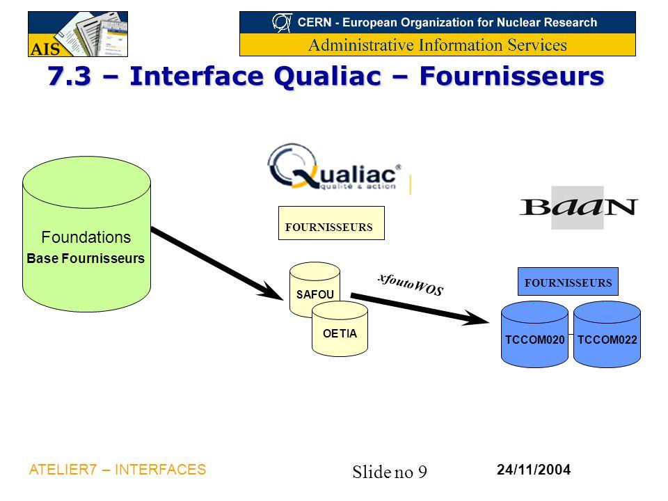 Slide no 9 24/11/2004ATELIER7 – INTERFACES 7.3 – Interface Qualiac – Fournisseurs xfoutoWOS FOURNISSEURS TCCOM020TCCOM022 SAFOU OETIA Foundations Base