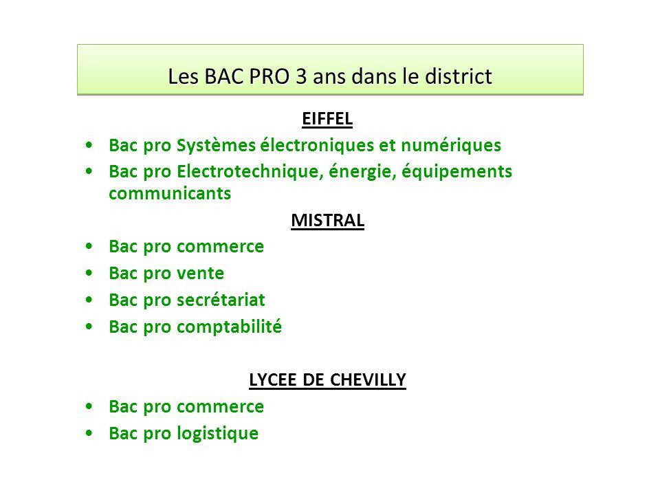 Les BAC PRO 3 ans dans le district EIFFEL Bac pro Systèmes électroniques et numériques Bac pro Electrotechnique, énergie, équipements communicants MIS