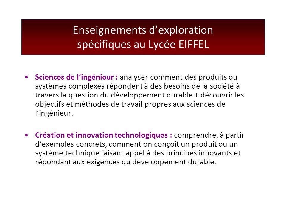 Enseignements d'exploration spécifiques au Lycée EIFFEL Sciences de l'ingénieur : analyser comment des produits ou systèmes complexes répondent à des
