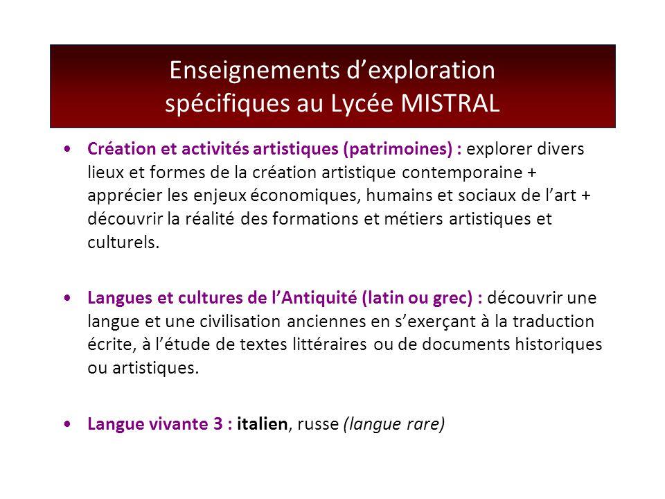 Enseignements d'exploration spécifiques au Lycée MISTRAL Création et activités artistiques (patrimoines) : explorer divers lieux et formes de la créat