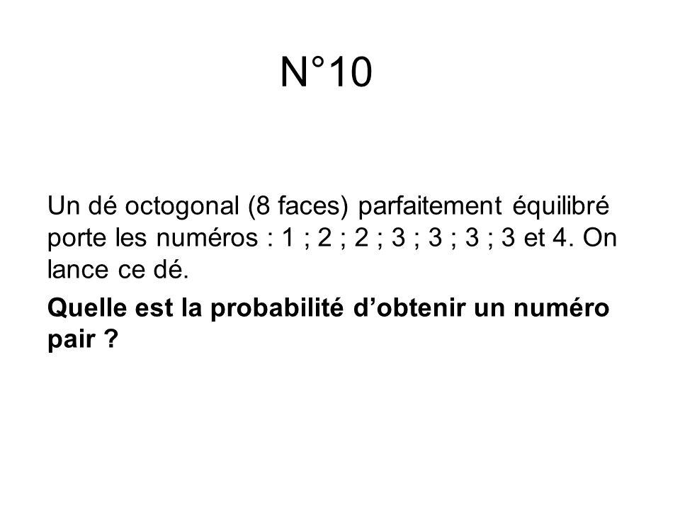 Un dé octogonal (8 faces) parfaitement équilibré porte les numéros : 1 ; 2 ; 2 ; 3 ; 3 ; 3 ; 3 et 4. On lance ce dé. Quelle est la probabilité d'obten