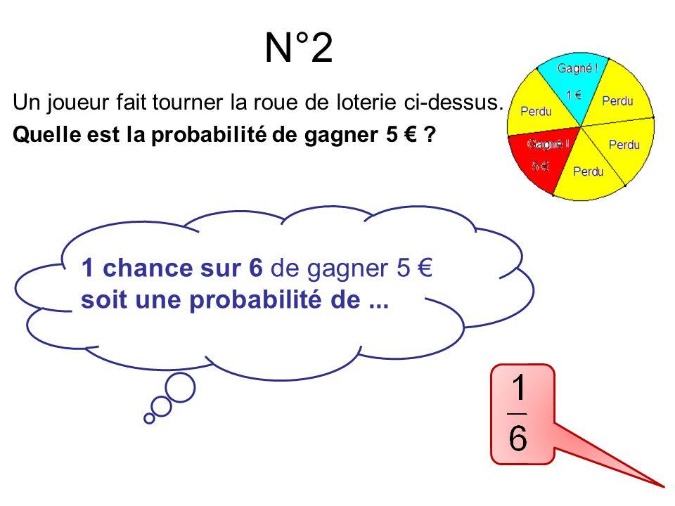 Un joueur fait tourner la roue de loterie ci-dessus. Quelle est la probabilité de gagner 5 € ? N°2 1 chance sur 6 de gagner 5 € soit une probabilité d