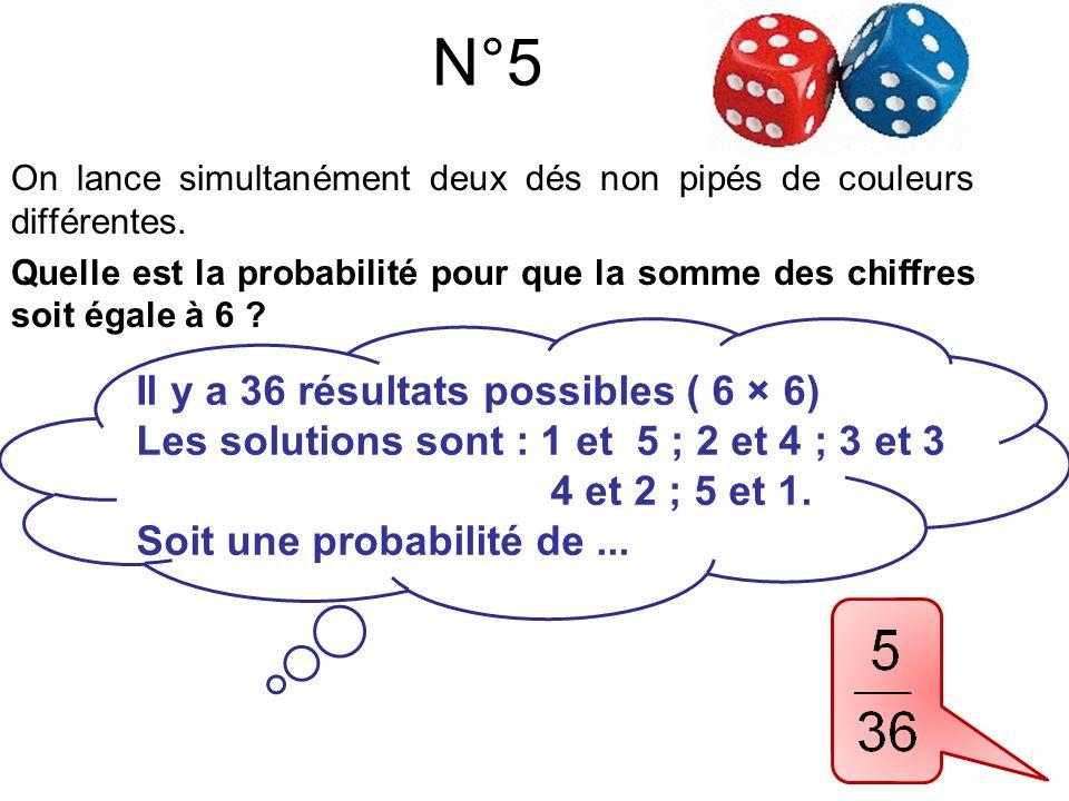 On lance simultanément deux dés non pipés de couleurs différentes. Quelle est la probabilité pour que la somme des chiffres soit égale à 6 ? N°5 Il y