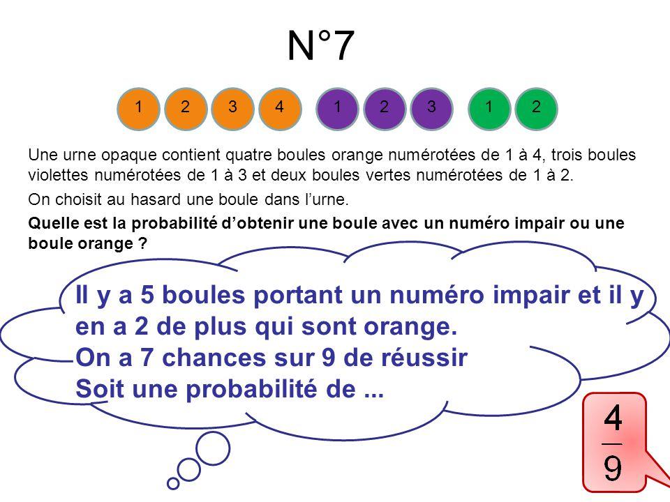 N°7 Une urne opaque contient quatre boules orange numérotées de 1 à 4, trois boules violettes numérotées de 1 à 3 et deux boules vertes numérotées de