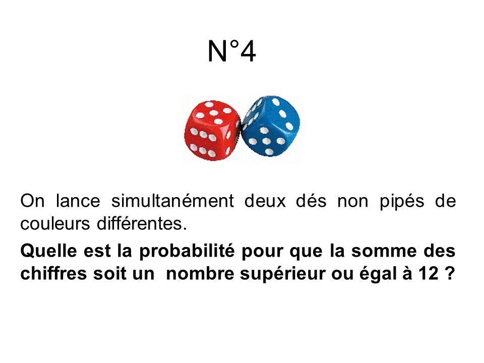 On lance simultanément deux dés non pipés de couleurs différentes. Quelle est la probabilité pour que la somme des chiffres soit un nombre supérieur o