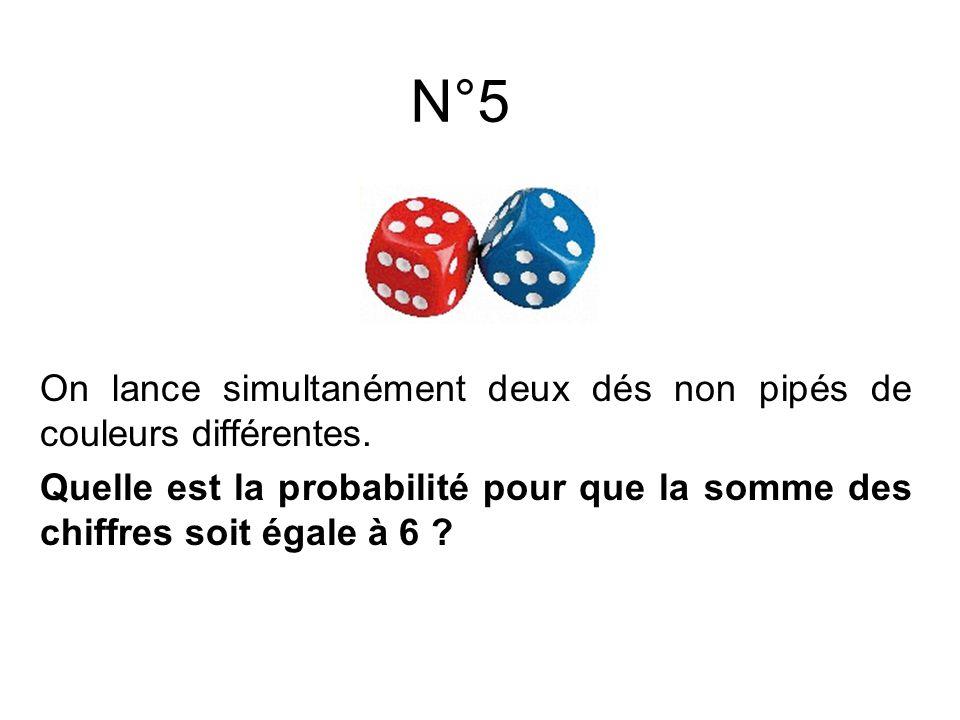 On lance simultanément deux dés non pipés de couleurs différentes. Quelle est la probabilité pour que la somme des chiffres soit égale à 6 ? N°5