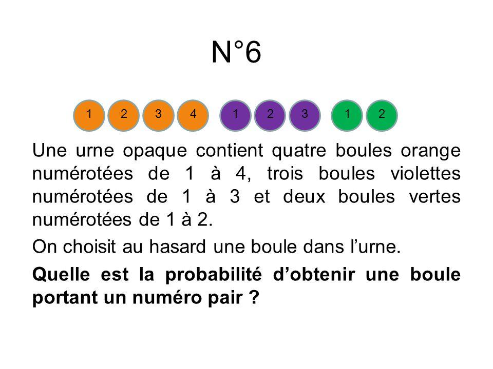 N°6 Une urne opaque contient quatre boules orange numérotées de 1 à 4, trois boules violettes numérotées de 1 à 3 et deux boules vertes numérotées de