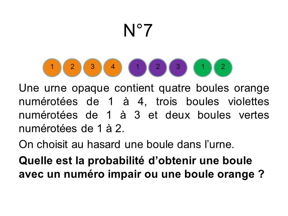 N°7 Une urne opaque contient quatre boules orange numérotées de 1 à 4, trois boules violettes numérotées de 1 à 3 et deux boules vertes numérotées de 1 à 2.
