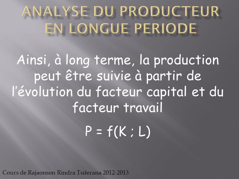 Cours de Rajaonson Rindra Tsiferana 2012-2013 (9 ; 0) (12 ; 0) P1 B P3 A P2 C D K* L* Lorsque le coût de production est connu, il faudrait maximiser le niveau de la production