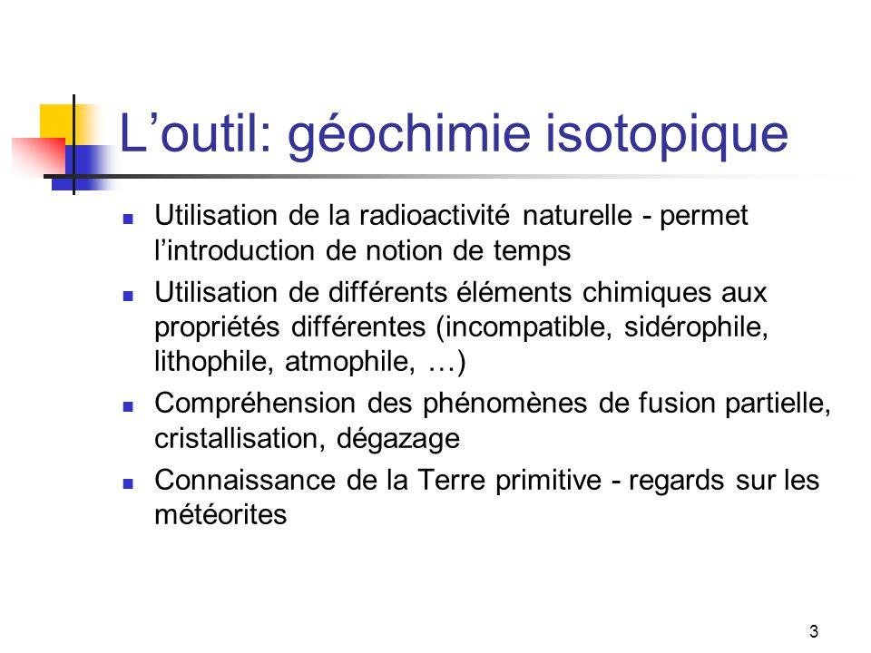 3 L'outil: géochimie isotopique Utilisation de la radioactivité naturelle - permet l'introduction de notion de temps Utilisation de différents éléments chimiques aux propriétés différentes (incompatible, sidérophile, lithophile, atmophile, …) Compréhension des phénomènes de fusion partielle, cristallisation, dégazage Connaissance de la Terre primitive - regards sur les météorites